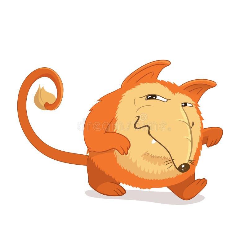 Fantasia, personaggio immaginario rievocativo della volpe rossa o cane Sly, espressione facciale ingannevole illustrazione di stock