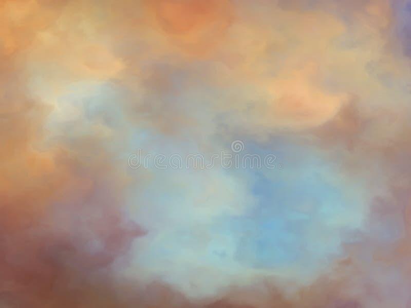 A fantasia sonhadora nubla-se a pintura do fundo ilustração do vetor