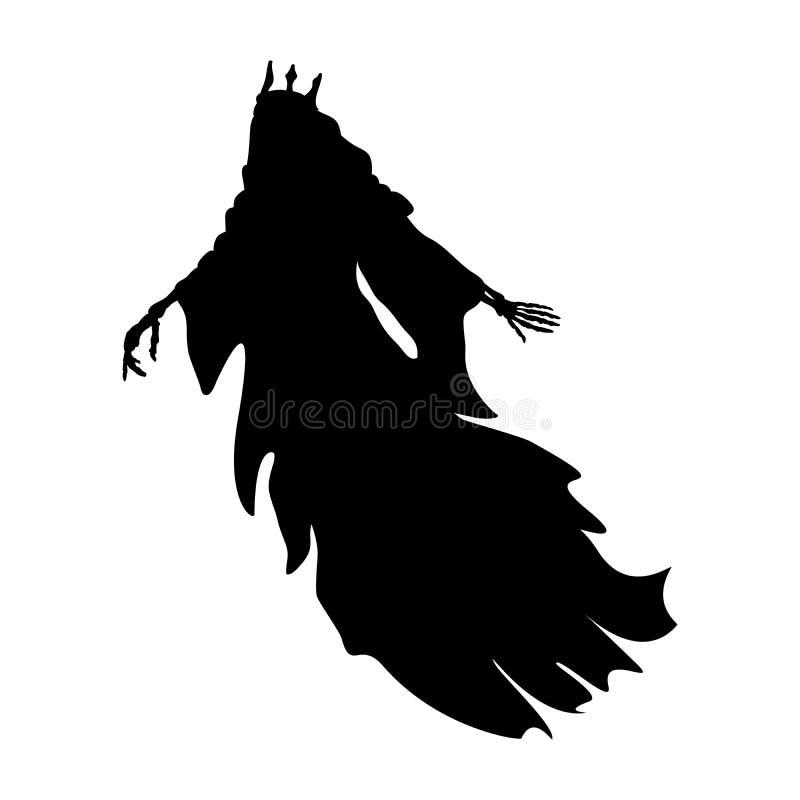 Fantasia spaventosa del mostro della siluetta di re del fantasma illustrazione vettoriale
