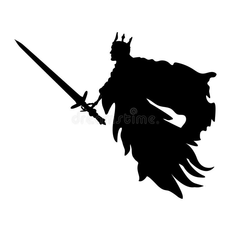 Fantasia spaventosa del mostro della siluetta di re del fantasma royalty illustrazione gratis