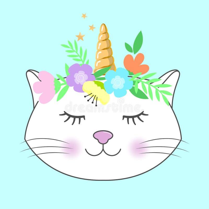 Fantasia sveglia, unicorno del gatto del fumetto Illustrazione di vettore Cartolina d'auguri illustrazione di stock