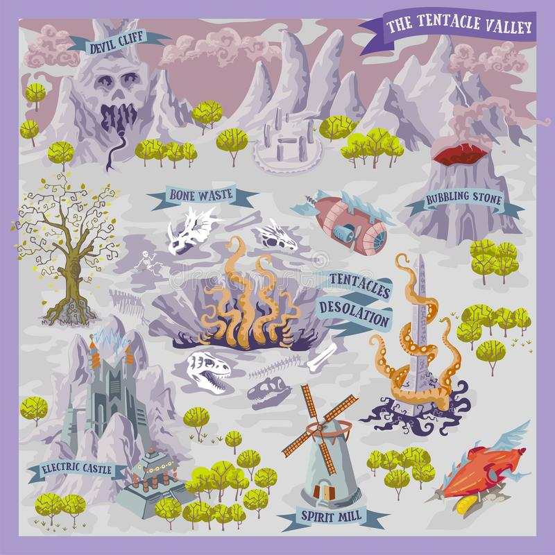 Fantasiadverntureöversikt för kartografi med den färgrika illustrationen för klotterhandattraktion av tentakeldalen stock illustrationer