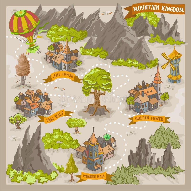 Fantasiadverntureöversikt för kartografi med den färgrika illustrationen för vektor för klotterhandattraktion av bergkungariket stock illustrationer