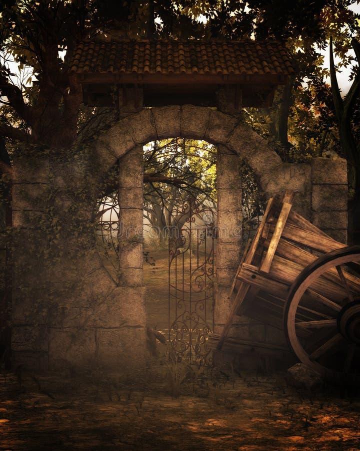 Fantasibakgrund med den gamla vagnen vektor illustrationer