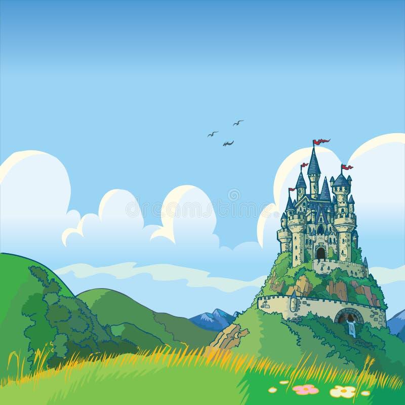 Fantasibakgrund med slottvektortecknade filmen vektor illustrationer