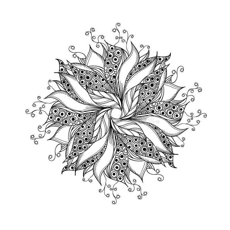 Fantasiblomman, den svartvita tatueringen mönstrar royaltyfri illustrationer