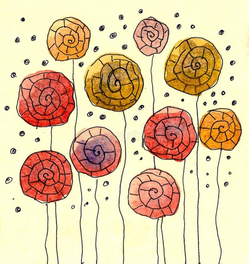 fantasiblommavattenfärg royaltyfri illustrationer