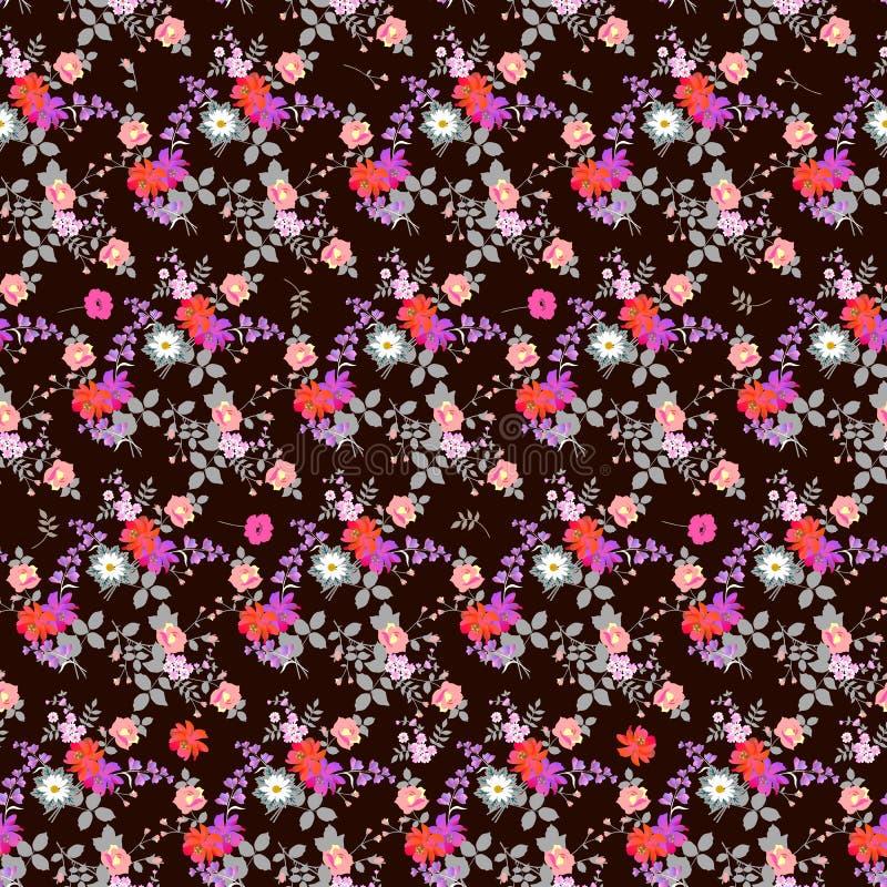 Fantasiblommor med silversidor på mörk brun bakgrund seamless blom- modell Tryck för tyg, tapet stock illustrationer