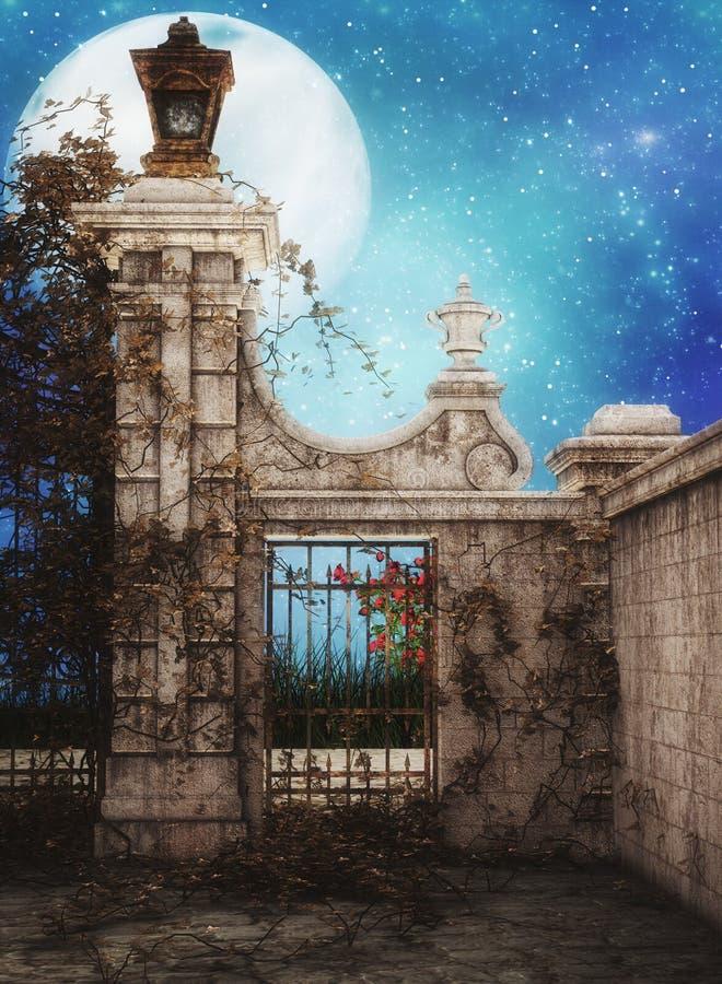 Fantasiborggård stock illustrationer