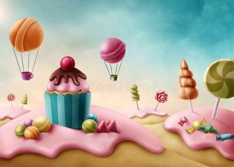 Fantasicandyland stock illustrationer