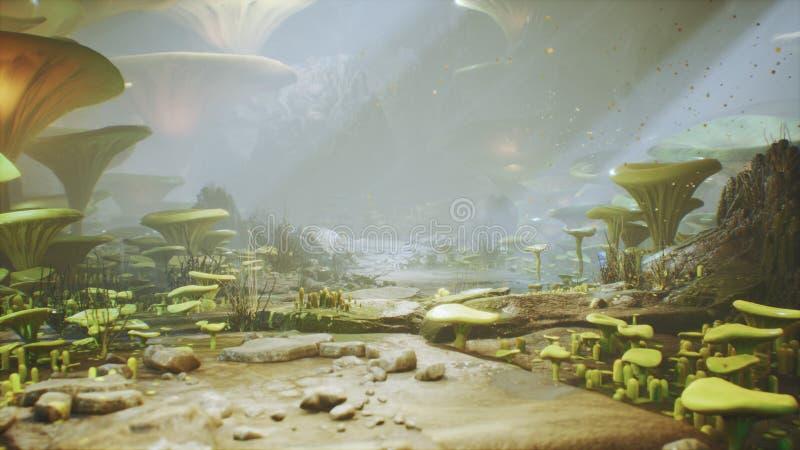Fantasichampinjoner i h?rliga magiska champinjoner f?r en magisk skog i den borttappade skogen och eldflugor p? bakgrunden med royaltyfri illustrationer