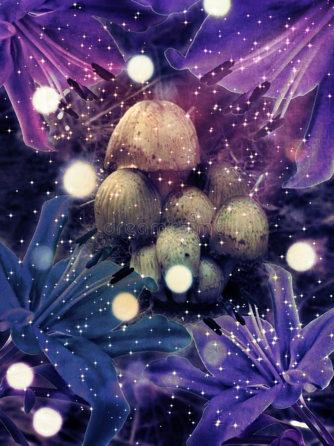 Fantasichampinjoner och blommor stock illustrationer