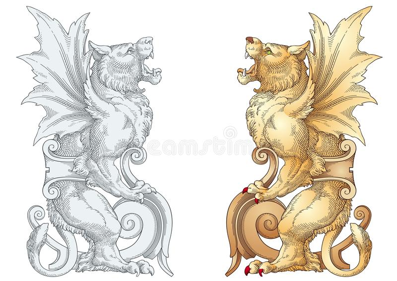 Fantasidjur stock illustrationer