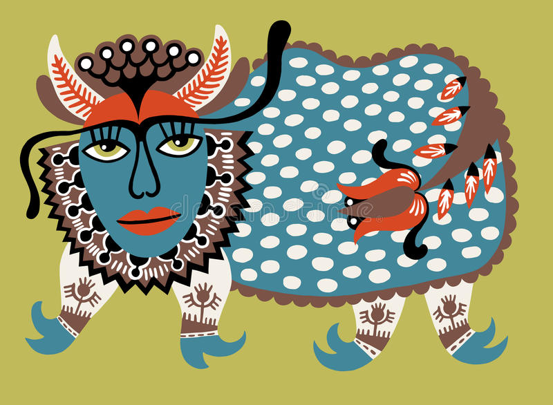Fantasidjur Ukrainsk traditionell målning vektor illustrationer
