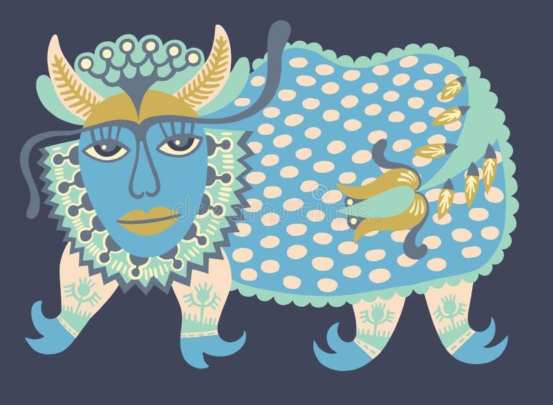 Fantasidjur Ukrainsk traditionell målning stock illustrationer