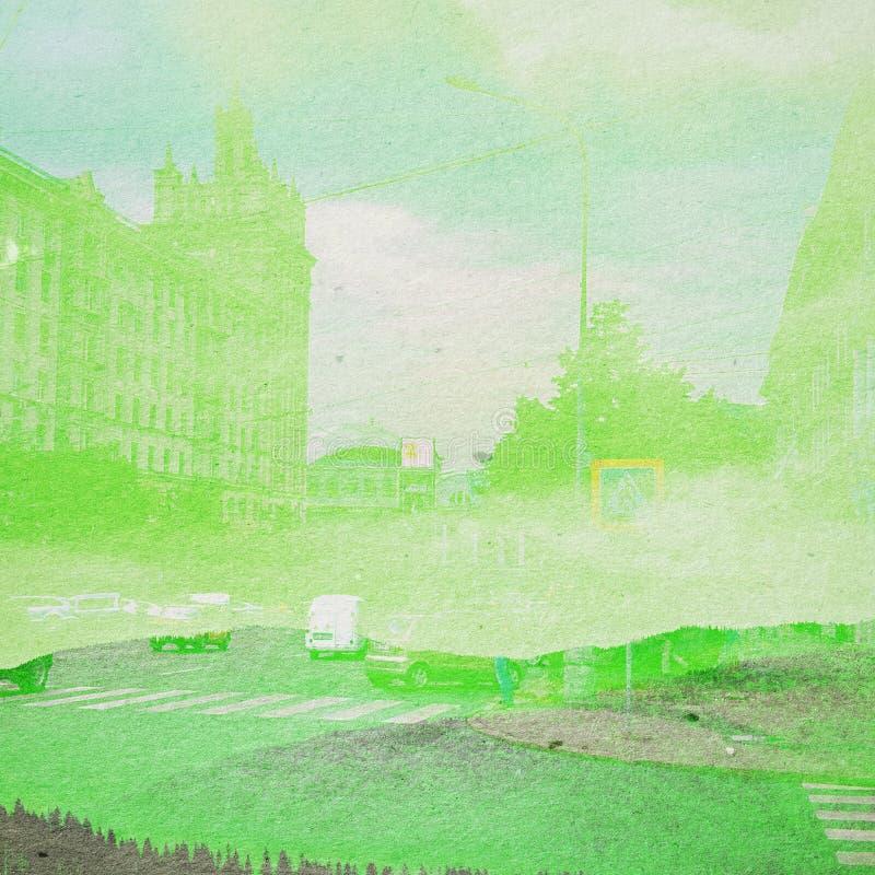 Fantasie-Ökologie-Zusammenfassungs-Hintergrund Stadtlandschaft gemischt mit dem natürlichen auf Papierbeschaffenheit lizenzfreie stockfotografie