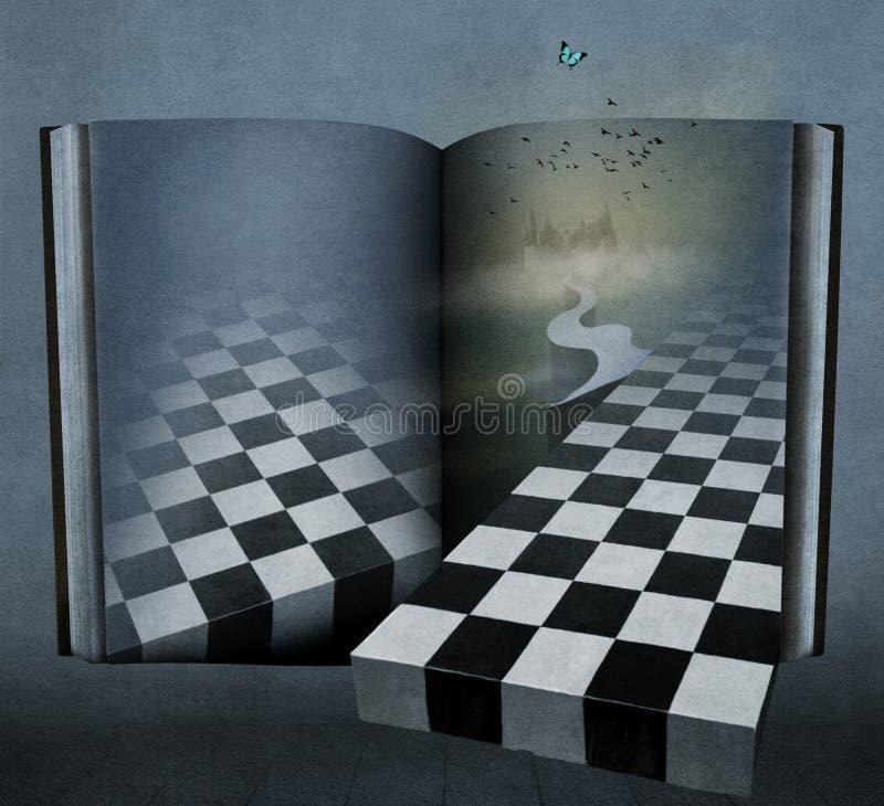 Fantasie achtergrondboeksprookjesland royalty-vrije illustratie