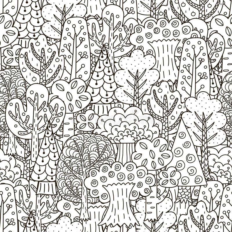 Fantasie bos naadloos patroon Zwart-witte Bomenachtergrond royalty-vrije illustratie