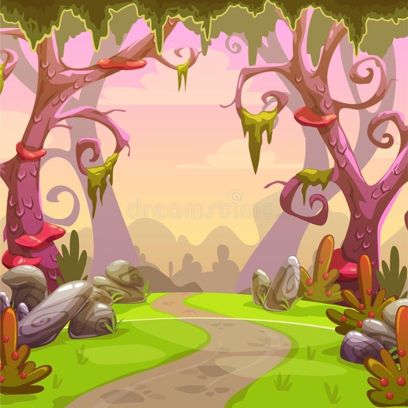 Fantasie bosillustratie royalty-vrije illustratie
