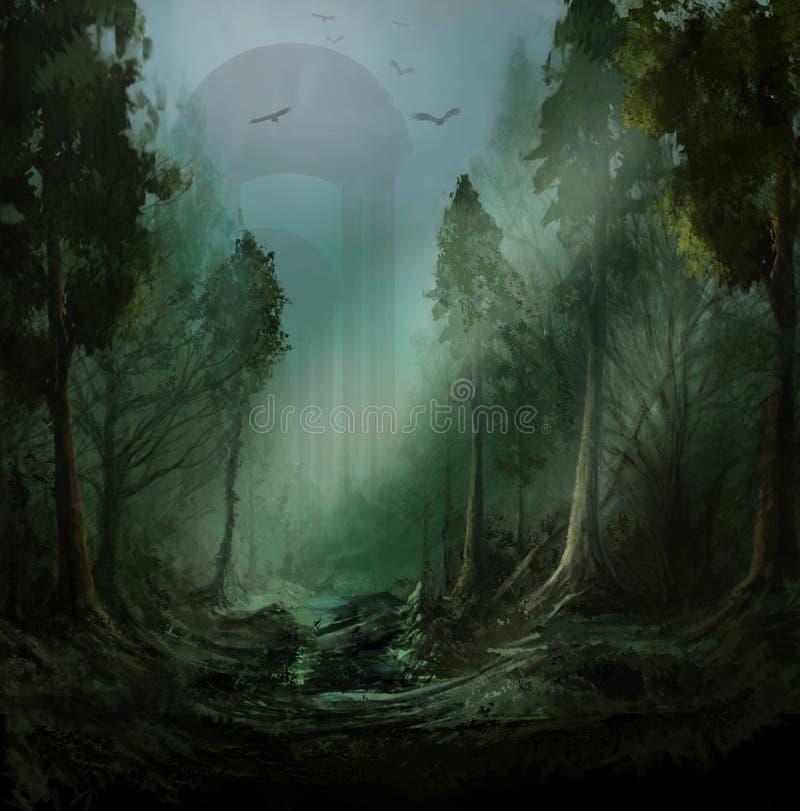 Fantasie donker bos royalty-vrije illustratie