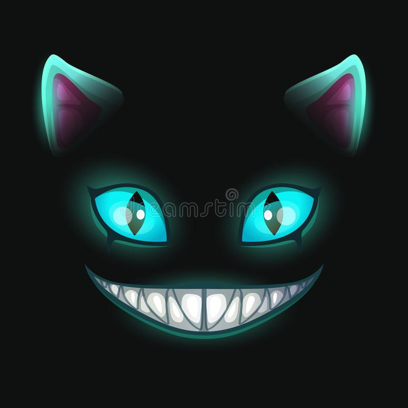 Fantasie eng het glimlachen kattengezicht op zwarte achtergrond stock illustratie