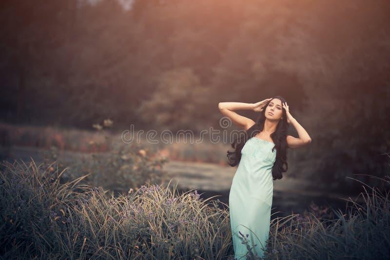 Fantasie fairytale, mooie maar droevige vrouw - hout stock foto's