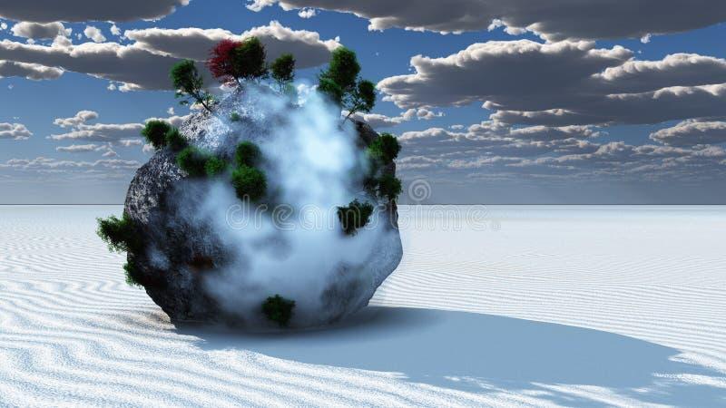 Fantasie-Felsen-Insel lizenzfreie abbildung