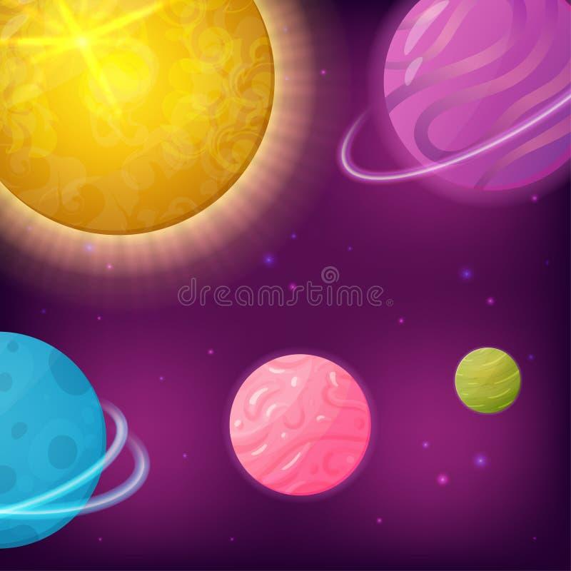 Fantasie-Galaxie mit Planeten und Sternen vektor abbildung