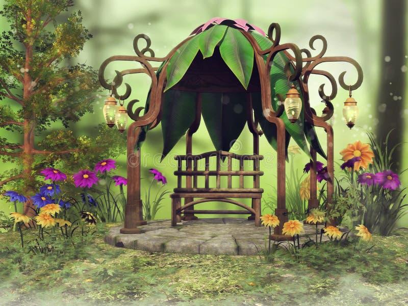 Fantasie Gazebo und bunte Blumen lizenzfreie abbildung