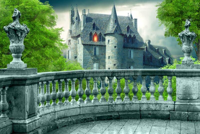 Fantasie Gotisch Balkon royalty-vrije illustratie