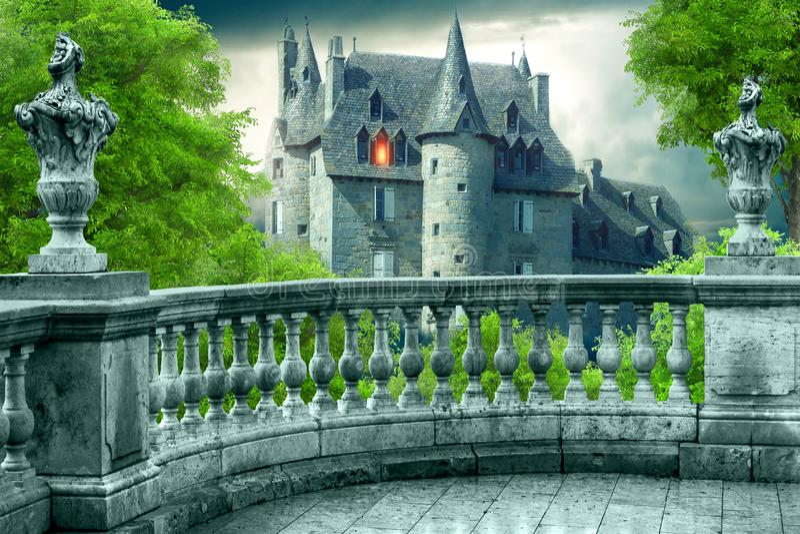 Fantasie-gotischer Balkon lizenzfreie abbildung