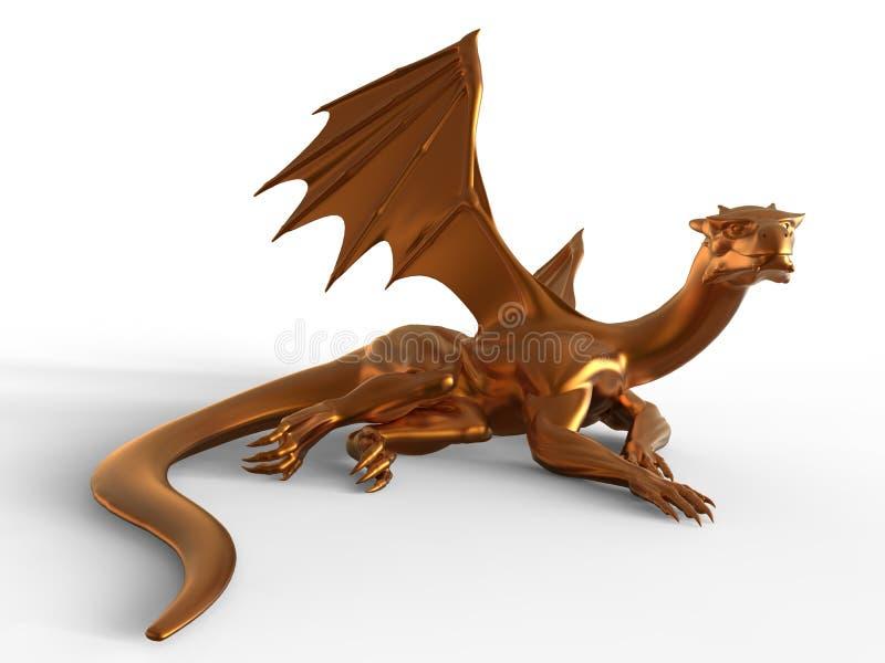 Fantasie Gouden Draak royalty-vrije illustratie