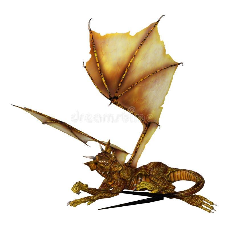 Fantasie Hatchlings-Drache der Wiedergabe-3D auf Weiß vektor abbildung