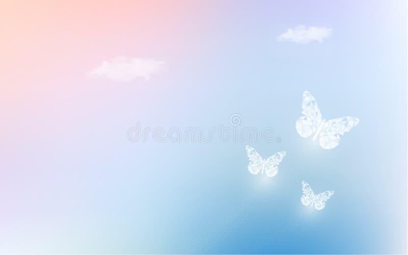 Fantasie het dromen hemel met lage polyvlinders op pastelkleurachtergrond De regenboog van de hologramhemel en magische kleurrijk royalty-vrije illustratie
