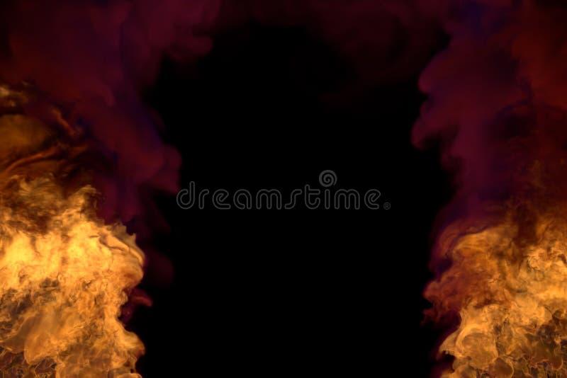Fantasie het smelten de hel op zwarte, kader met zware rook - steek van de linker en juiste hoeken in brand - steekt 3D illustrat stock illustratie
