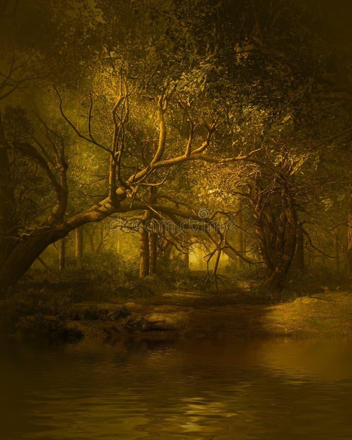 Fantasie houten landschap vector illustratie