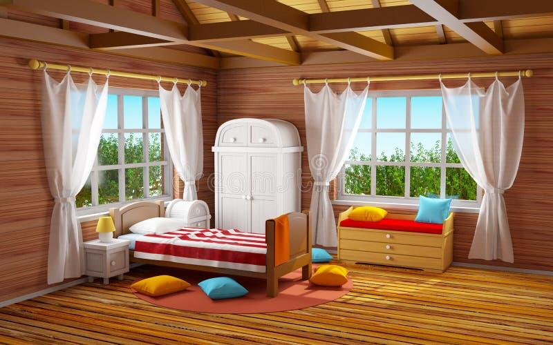 Fantasie houten slaapkamer stock illustratie