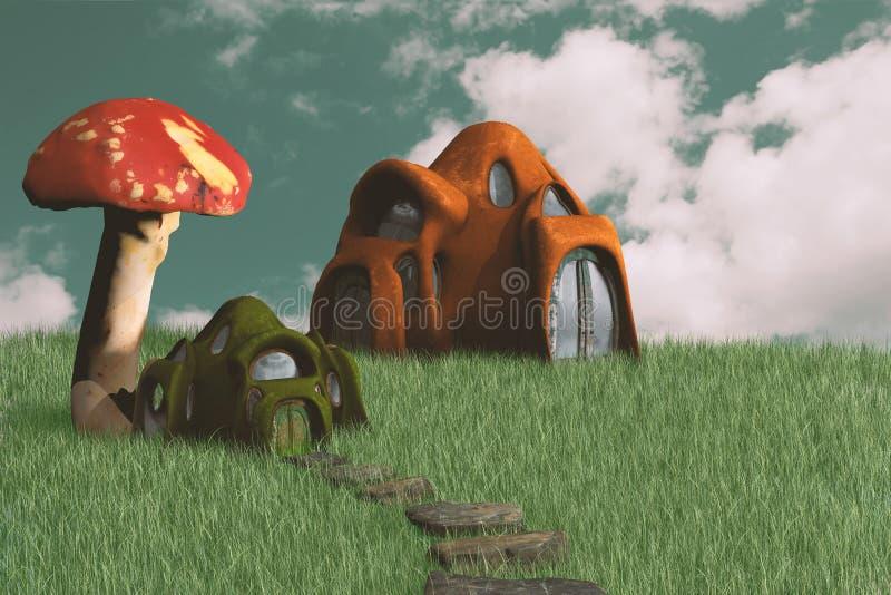 Fantasie-kleine feenhafte Häuser stock abbildung
