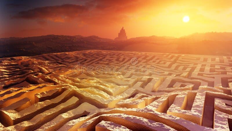 Fantasie-Labyrinth-Sonnenuntergang-Umwelt vektor abbildung