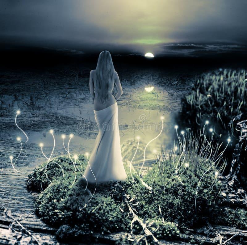 Fantasie magische wereld. Elf en zonsondergang royalty-vrije stock foto