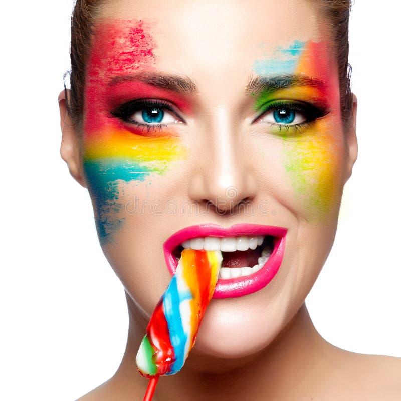 Fantasie-Make-up Gemaltes Gesicht Lutscher lizenzfreies stockfoto