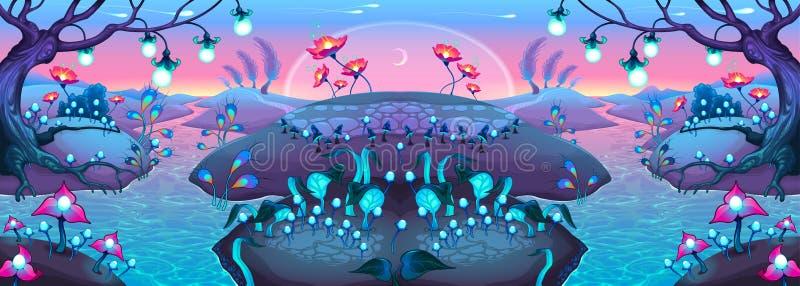 Fantasie nachtelijk landschap stock illustratie