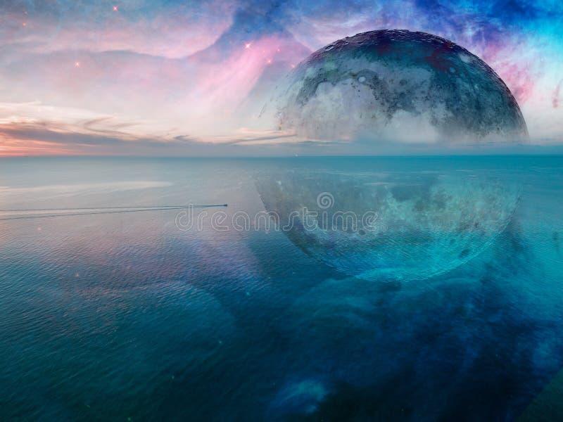 Fantasie onwerkelijk zeegezicht - kleine vissersboot die over kalme overzees varen stock fotografie