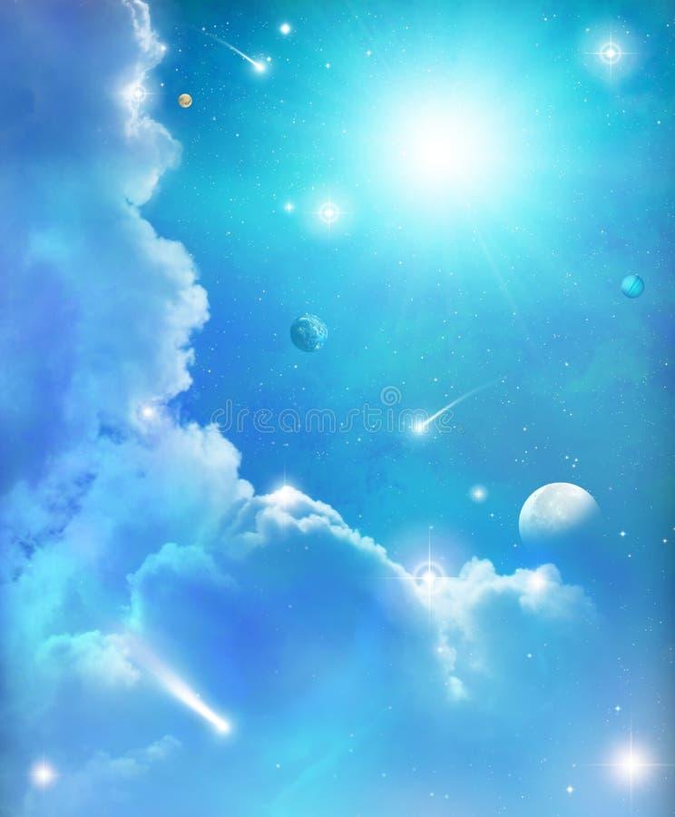 Fantasie-Raum-Sterne und Himmel-Hintergrund vektor abbildung