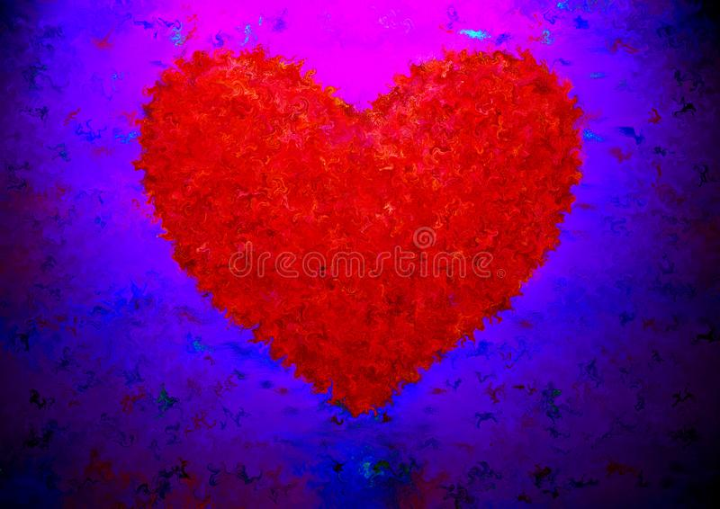 Fantasie romantisch hart op duistere achtergrond stock illustratie