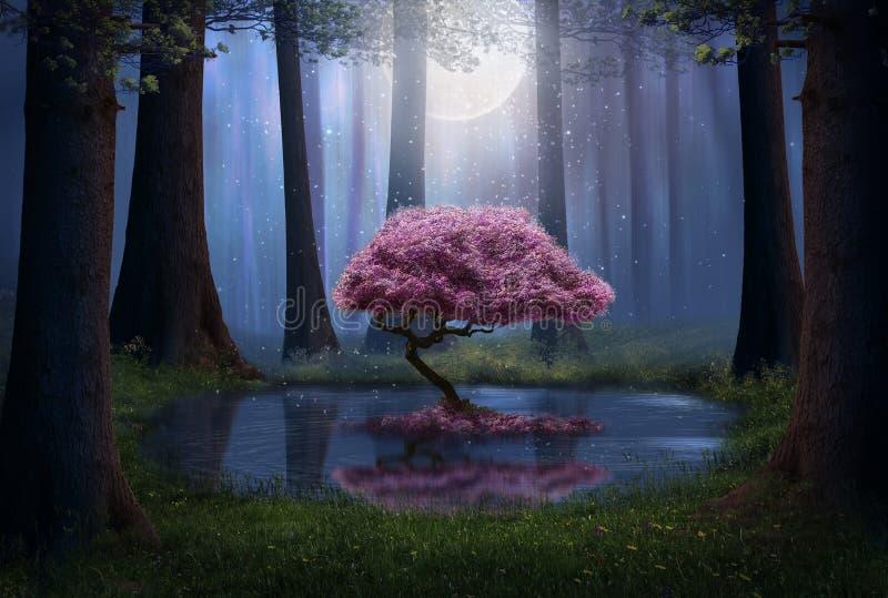 Fantasie roze boom in het bos stock illustratie