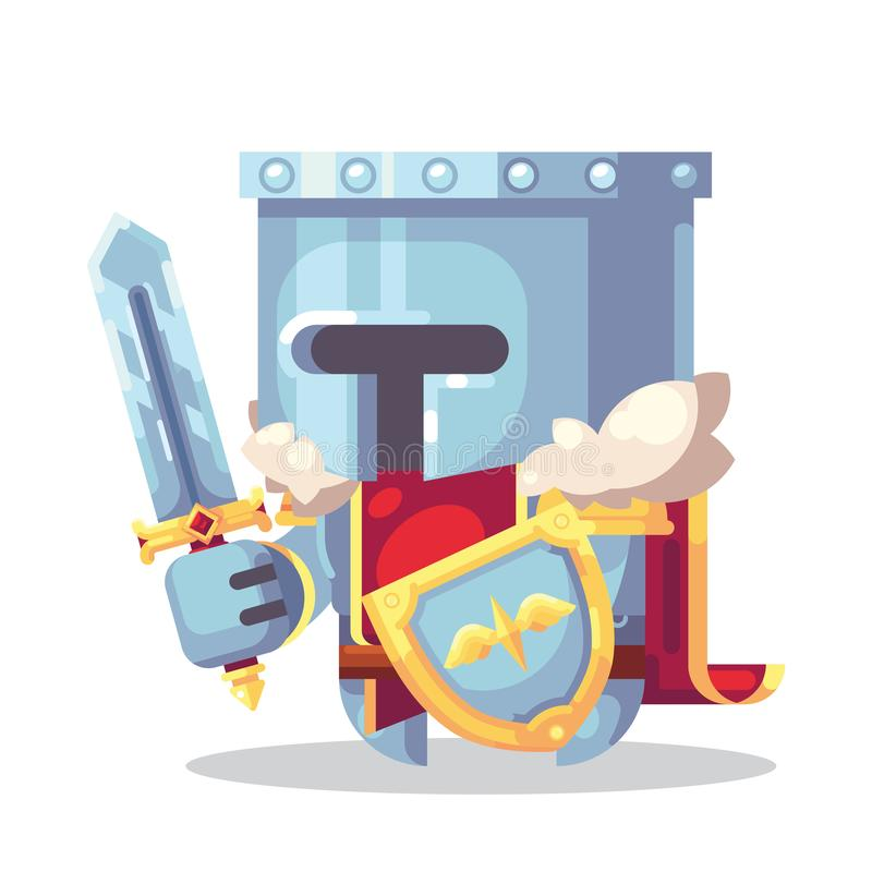 Fantasie RPG-Spiel Spiel-Charaktermonster und -helden Ikonen-Illustration Krieger, Ritter, Paladin in der Rüstung mit Klinge und vektor abbildung