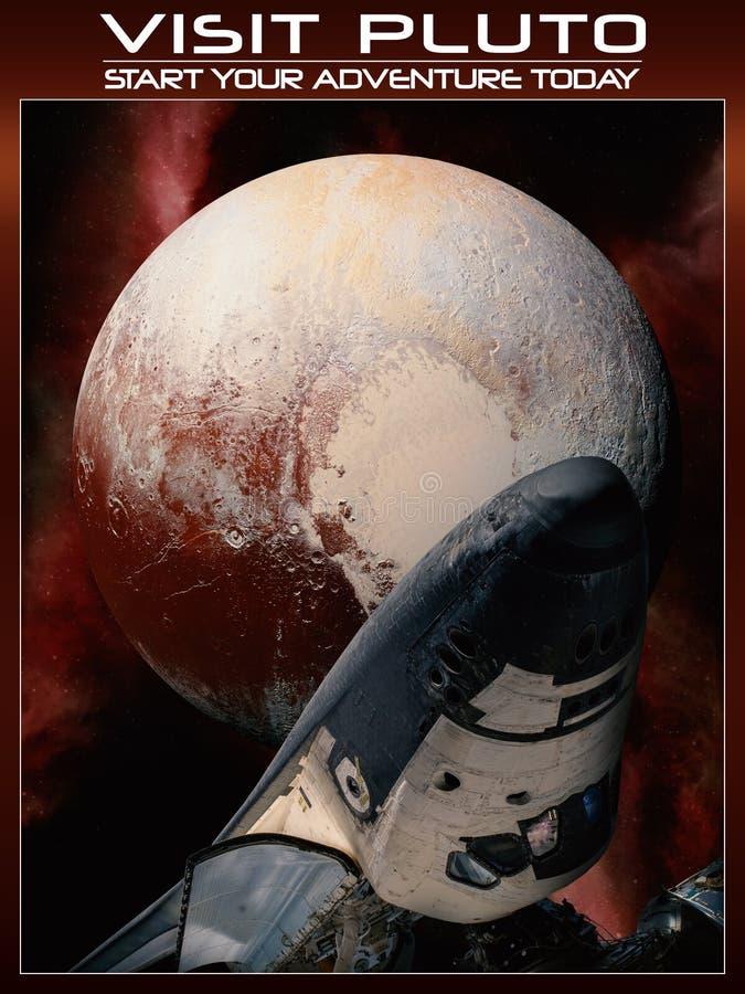 Fantasie ruimteaffiche om pluto te bezoeken stock illustratie