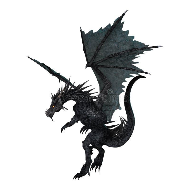 Fantasie-Schwarz-Drache der Wiedergabe-3D auf Weiß lizenzfreie abbildung