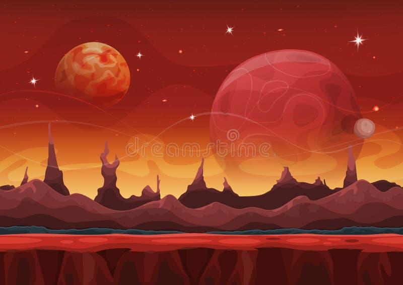 Fantasie-Sciencefiction Martian Background For Ui Game stock abbildung